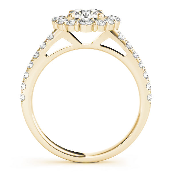 Front view of a round halo engagement ring in yellow gold