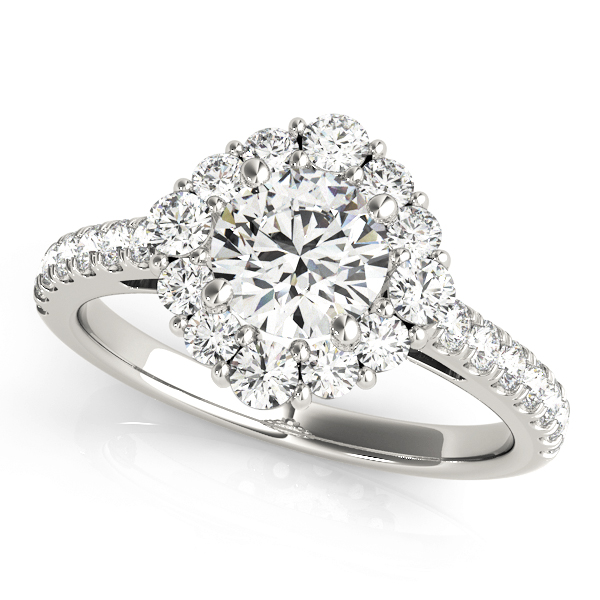 Top view of a round halo engagement ring in white gold