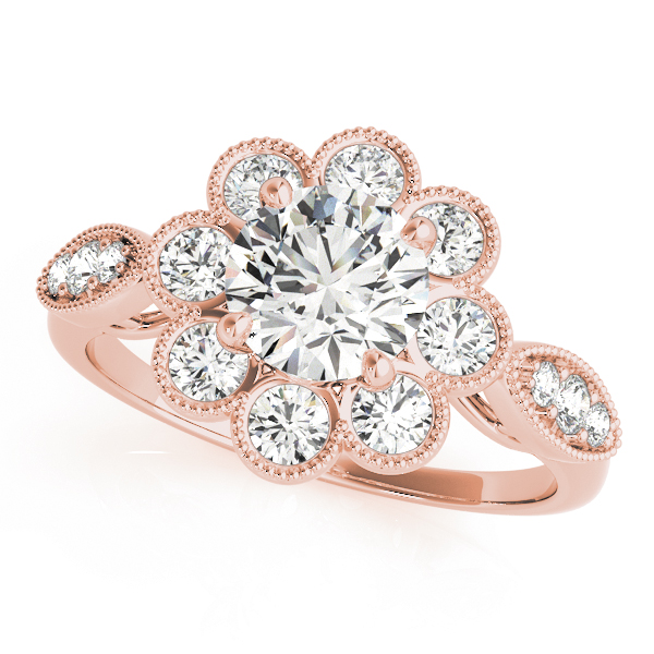 Top view of rose gold floral engagement ring
