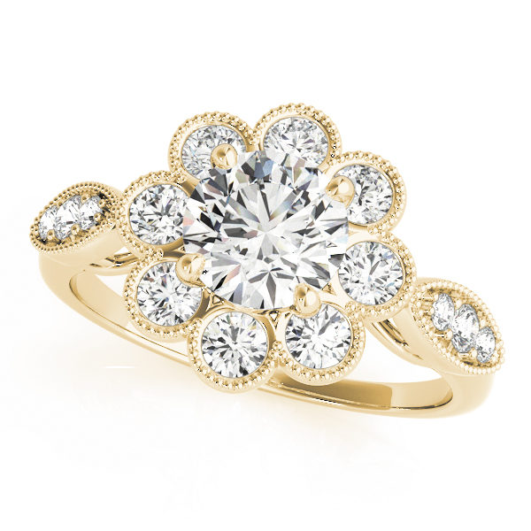 Top view of yellow gold floral engagement ring