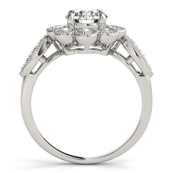 Front view of white gold floral engagement ring