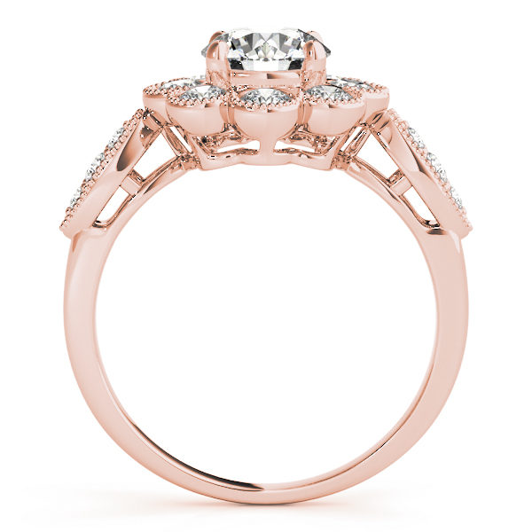 Front view of rose gold floral engagement ring