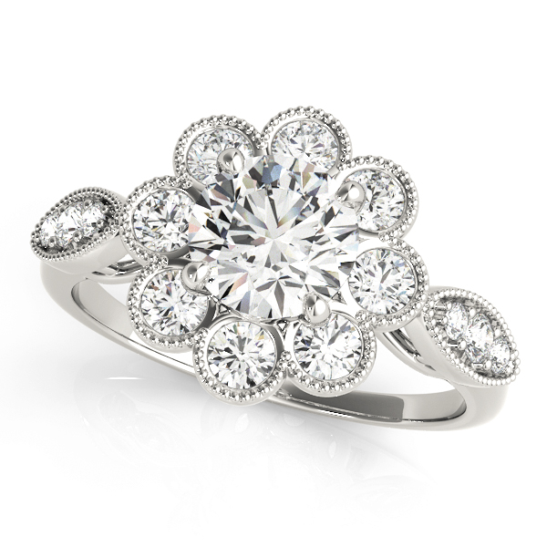 Top view of white gold floral engagement ring