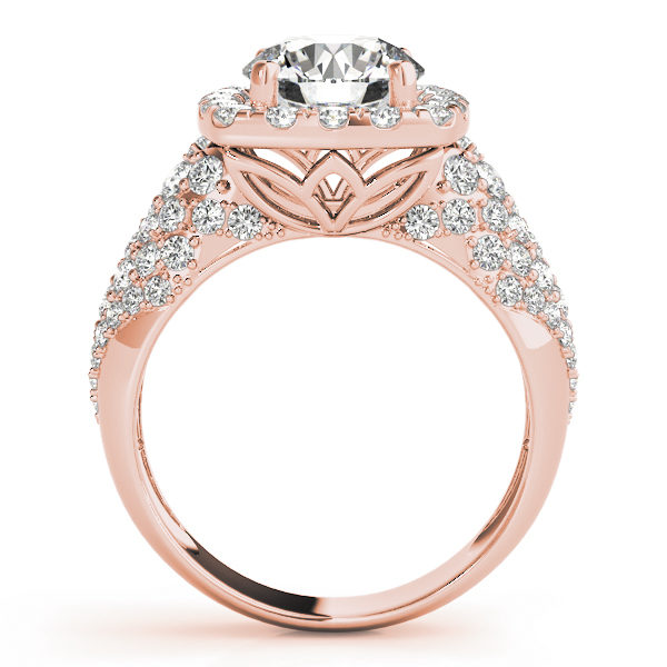 front view of a thick band rose gold diamond halo engagement ring surrounded by smaller diamonds also on each shoulder