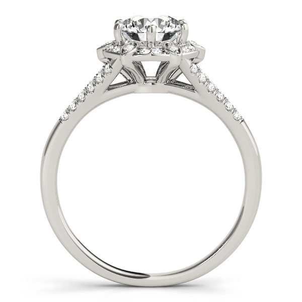 front view of a white gold diamond halo engagement ring surrounded by smaller diamonds and on each side of the shoulder