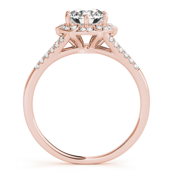front view of a rose gold diamond halo engagement ring surrounded by smaller diamonds and on each side of the shoulder