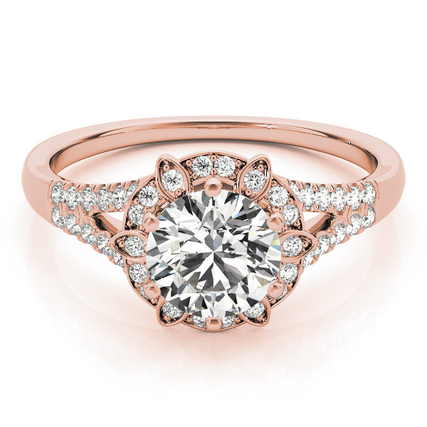 top view of a petite rose gold diamond halo engagement ring surrounded by smaller diamonds on each of the split shanks