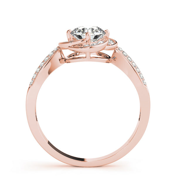 Side view of a rose gold halo engagement ring with a flat cathedral band embedded with accent stones