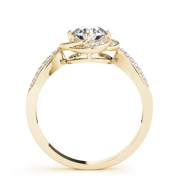 Side view of a white gold halo engagement ring with a flat cathedral band embedded with accent stones
