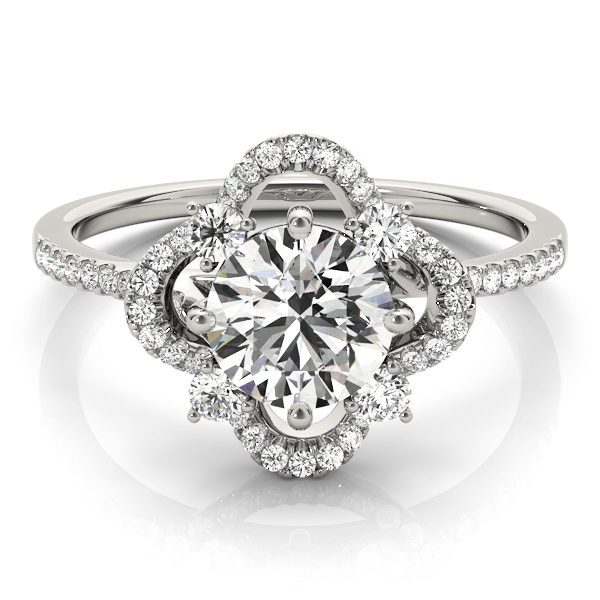 Front view of a silver halo engagement ring with a diamond center stone, four side stones and accent stones on the band