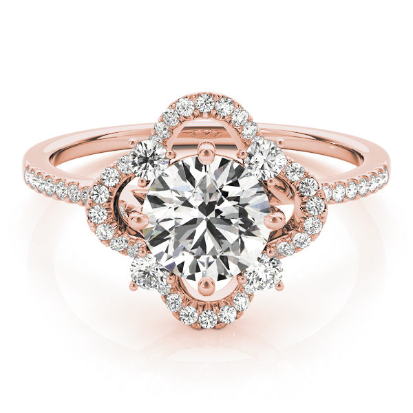 Front view of a rose gold halo engagement ring with a diamond center stone, four side stones and accent stones on the band