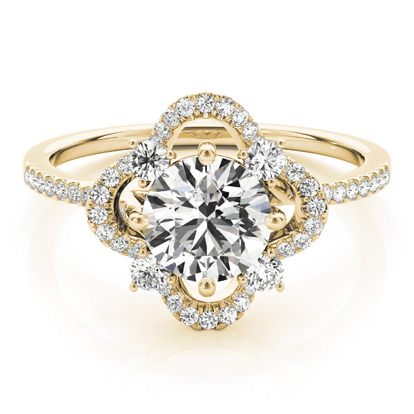 Front view of a white gold halo engagement ring with a diamond center stone, four side stones and accent stones on the band