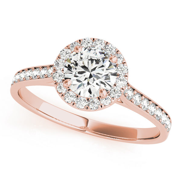 top view of a petite rose gold halo engagement ring with a round diamond gripped by 4 prongs surrounded in smaller diamonds