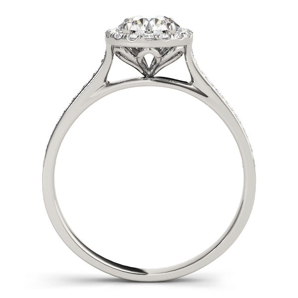 front view of a petite diamond halo engagement ring with surrounding small diamonds in white gold