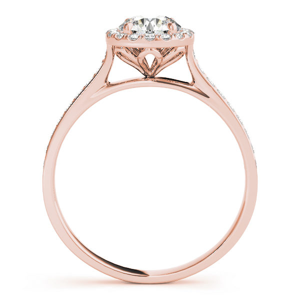front view of a petite diamond halo engagement ring with surrounding small diamonds in rose gold