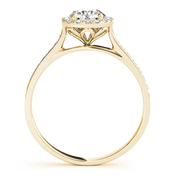 front view of a petite diamond halo engagement ring with surrounding small diamonds in yellow gold