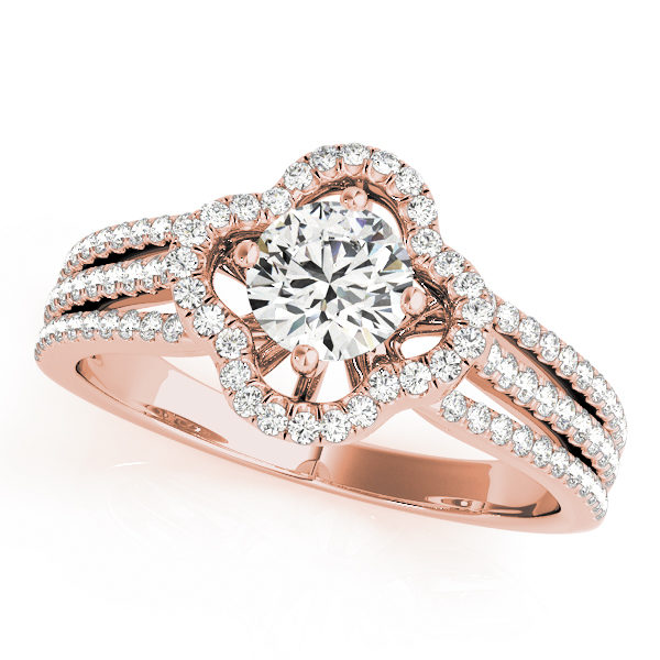 Top view of a rose gold clover shaped pave halo engagement ring in three row bands with set of smaller diamonds
