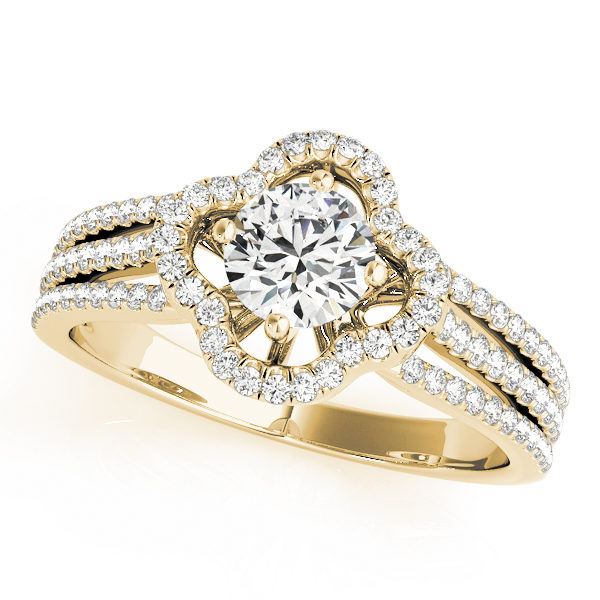 Top view of a yellow gold clover shaped pave halo engagement ring in three row bands with set of smaller diamonds