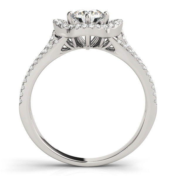 Front view of a pave halo engagement ring with diamond stones in upper shank in white gold