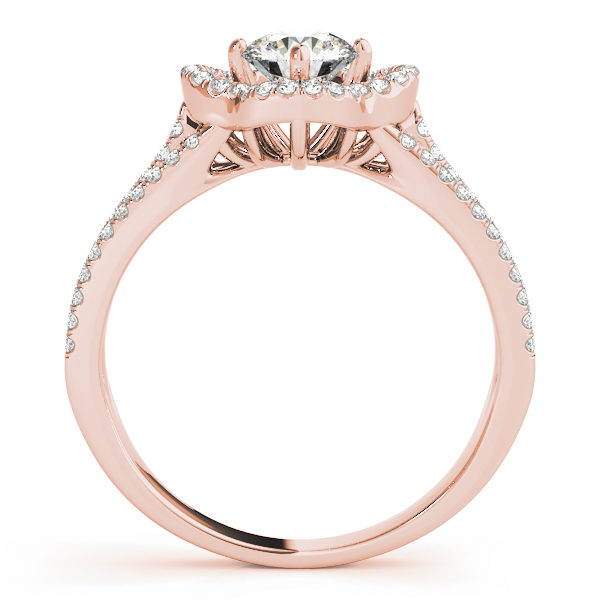 Front view of a pave halo engagement ring with diamond stones in upper shank in rose gold