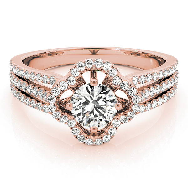 Front view of laying clover shaped pave halo engagement ring in three row bands with set of smaller diamonds in rose gold