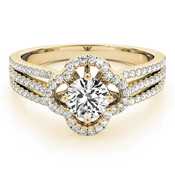 Front view of laying clover shaped pave halo engagement ring in three row bands with set of smaller diamonds in yellow gold