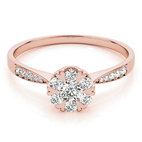 A laying front view of rose gold round cut diamond ring held by heart shaped prongs and channel set of diamond on upper shank
