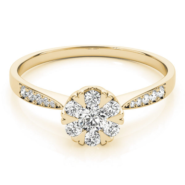 A laying front view of yellow gold round cut diamond ring held by heart shaped prongs and channel set of diamond on upper shank