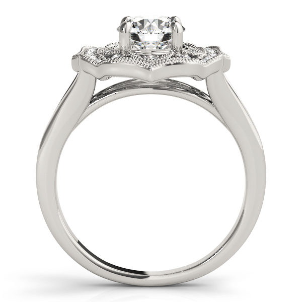 Silver halo engagement ring with a diamond center stone on a straight cathedral design band