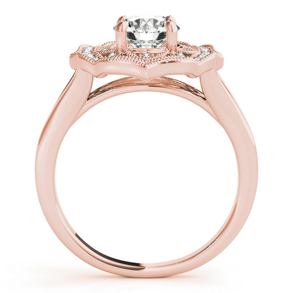 Rose gold halo engagement ring with a diamond center stone on a straight cathedral design band