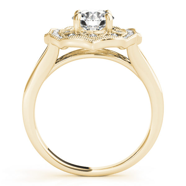 White gold halo engagement ring with a diamond center stone on a straight cathedral design band