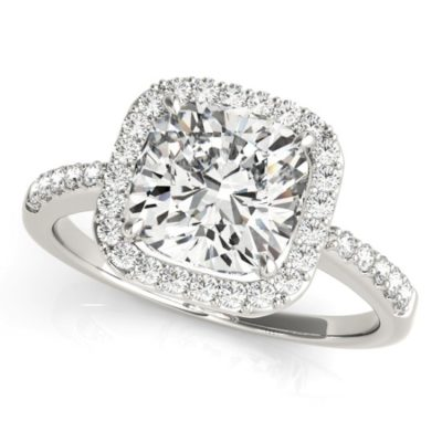 Cushion cut diamond rings in gold band