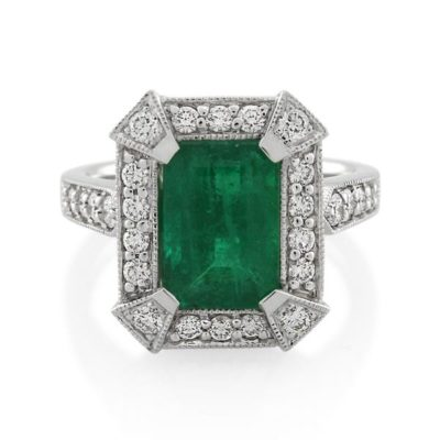 18CT White Gold 0.56ct Diamond & Emerald Ladies Ring