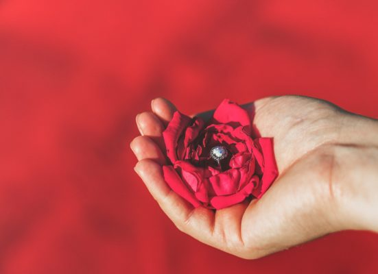 A hand holding red rose with a round diamond engagement ring at the center